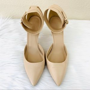 {J. Crew} Nude Leather Pointy-Toe Ankle Strap Heel